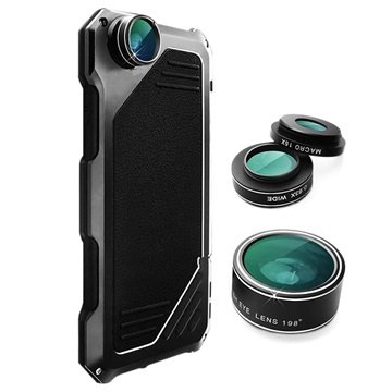 iPhone 7 Viking Cover met Camera Lens Set Zwart