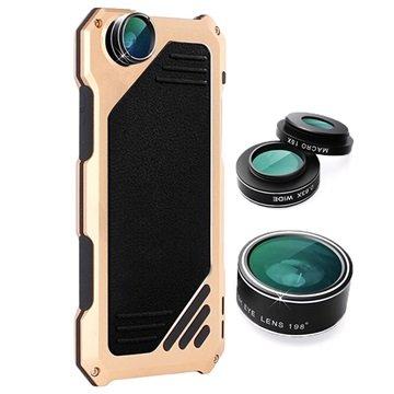 iPhone 7 Viking Cover met Camera Lens Set Zwart-Goud