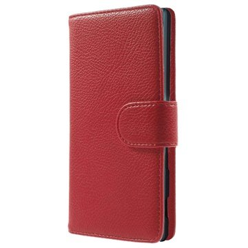Sony Xperia M2 Aqua Wallet Leren Hoesje Rood