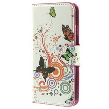 iPhone 6-6S Wallet Leren Hoesje Vlinders-Cirkels