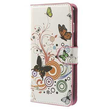 iPhone 6 Plus-6S Plus Wallet Leren Hoesje Vlinders-Cirkels