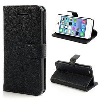 iPhone 5C Wallet Leren Hoesje Zwart