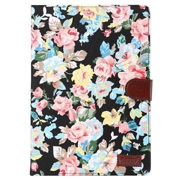 Samsung Galaxy Tab A 9.7 Smart Wallet Hoesje - Bloemen Zwart