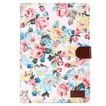 Samsung Galaxy Tab A 9.7 Smart Wallet Hoesje - Bloemen Wit