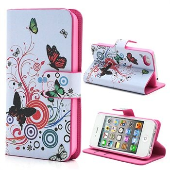 iPhone 4-4S Wallet Leren Hoesje Vlinders-Cirkels