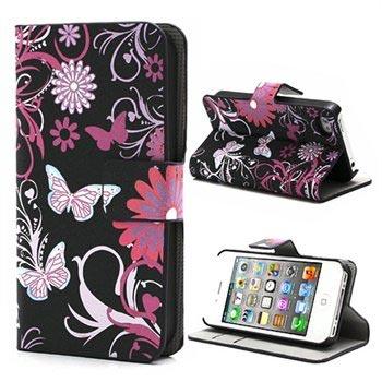 iPhone 4-4S Wallet Leren Hoesje Vlinders-Bloemen