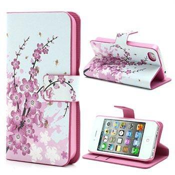 iPhone 4-4S Wallet Leren Hoesje Roze Bloemen