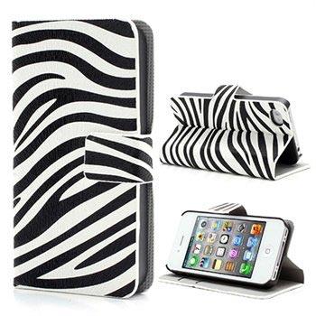 iPhone 4-4S Wallet Leren Hoesje Zebra Zwart-Wit