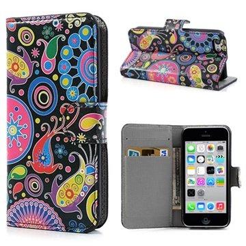 iPhone 5C Wallet Leren Hoesje Kleurrijke Bloemen Zwart