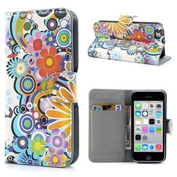 iPhone 5C Wallet Leren Hoesje Kleurrijke Bloemen Wit