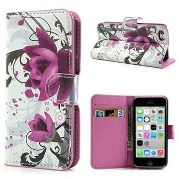 iPhone 5C Wallet Leren Hoesje Lotusbloem