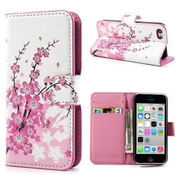 iPhone 5C Wallet Leren Hoesje Roze Bloemen