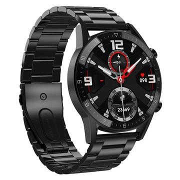 Roestvrij Staal Smartwatch met 24h Hartslagmeter & Bloeddruk DT92 Zwart