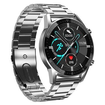 Roestvrij Staal Smartwatch met 24h Hartslagmeter & Bloeddruk DT92 Zilver