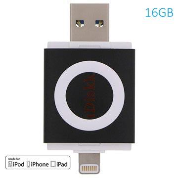 iDiskk 16GB Lightning-USB 3.0 Geheugenstick Zwart iPhone, iPad, iPod