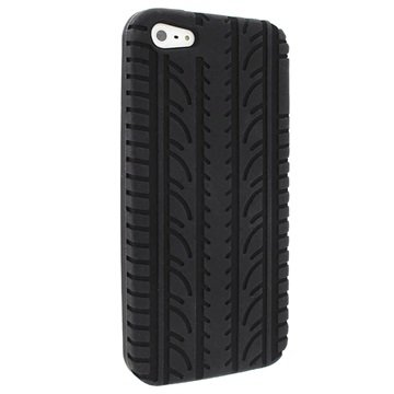 iPhone 5-5S-SE iGadgitz Tyre Tread Siliconen Hoesje Zwart