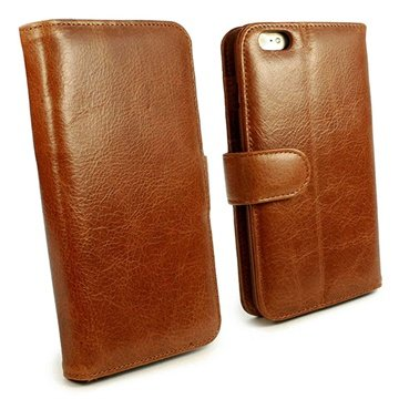 Tuff-Luv Vintage Leather Wallet-Style Case Cover for Apple iPhone 6 Brown