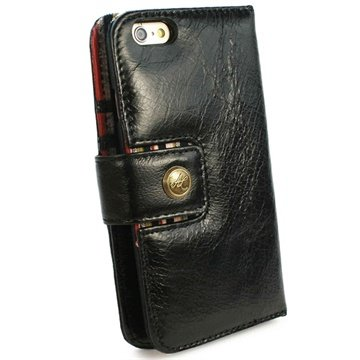 Tuff-Luv Vintage Genuine Leather Wallet Case Cover for Apple iPhone 6 Zwart