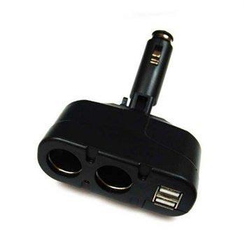 Autolader adapter met 2 stopcontacten en 2 USB-poorten
