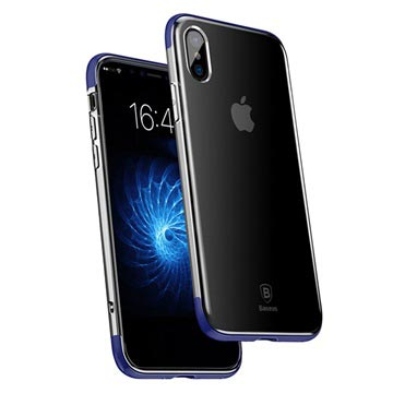 iPhone X Baseus Armor Series Doorzichtig TPU Case Blauw-Doorzichtig