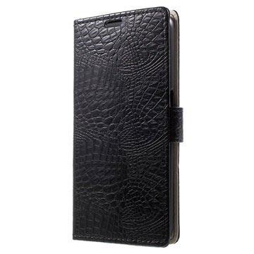 Samsung Galaxy S6 Crocodile Wallet Hoesje Zwart