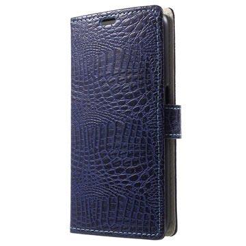 Samsung Galaxy S6 Crocodile Wallet Hoesje Blauw