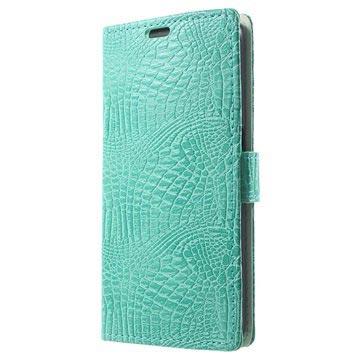 Samsung Galaxy S6 Crocodile Wallet Hoesje Cyan