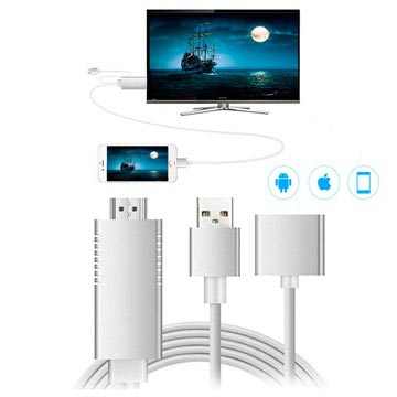 Full HD Mirroring Kabel Lightning, microUSB, USB-C-HDMI Adapter