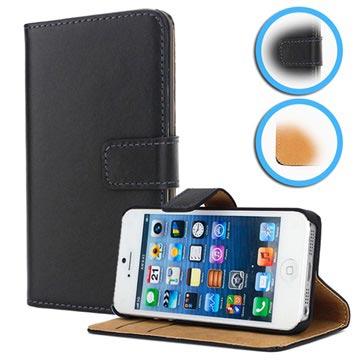 iPhone 5-5S-SE Wallet Leren Hoesje Zwart