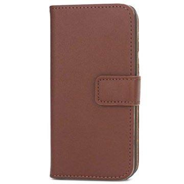 iPhone 5-5S-SE Wallet Leren Hoesje Coffee