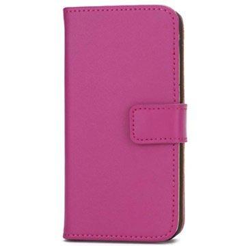 iPhone 5-5S-SE Wallet Leren Hoesje Hot Pink