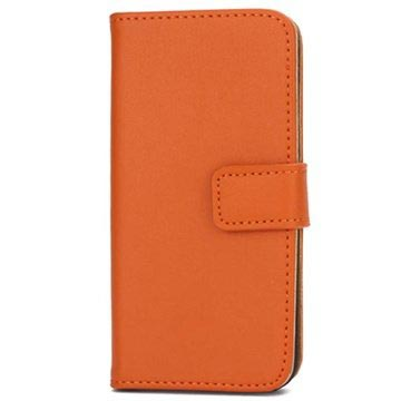iPhone 5-5S-SE Wallet Leren Hoesje Oranje