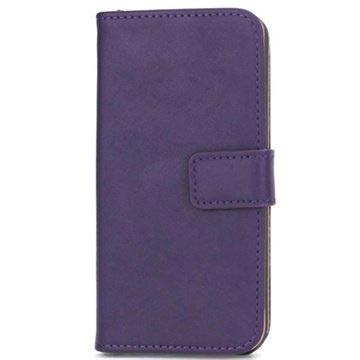 iPhone 5-5S-SE Wallet Leren Hoesje Paars