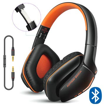 Kotion Each B3506 Bluetooth Draadloze Koptelefoon Zwart-Oranje