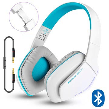 Kotion Each B3506 Bluetooth Draadloze Koptelefoon Wit-Blauw