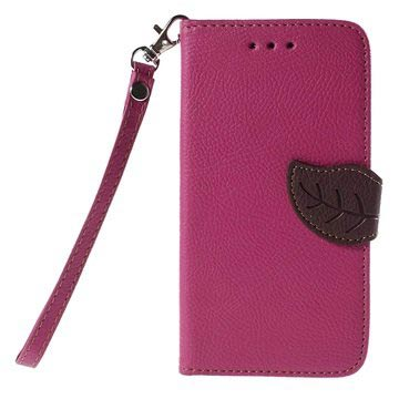 Nokia Lumia 730 Dual Sim, Lumia 735 Leaf Wallet Hoesje Hot Pink
