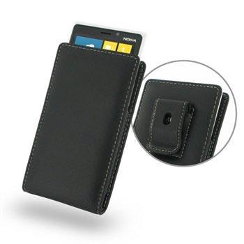 Nokia Lumia 920 PDair Vertical Riemclip Leren Hoesje Zwart