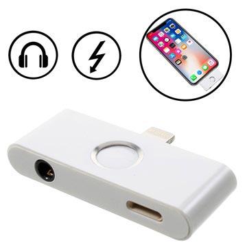 iPhone X Lightning & 3.5mm Audio Adapter met Thuis Knop Zilver