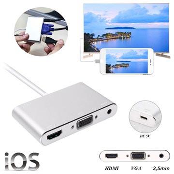 Lightning-HDMI, VGA, Audio, MicroUSB Adapter iPhone, iPad
