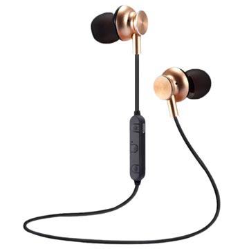 M6 Magnetisch Bluetooth In-ear Draadloze Koptelefoon Goud