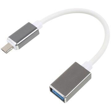 MicroUSB-USB OTG Kabel Adapter 16cm Wit-Zilver