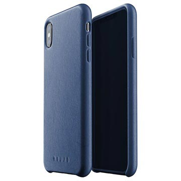 Mujjo Full Leder iPhone XS Plus Cover Donkerblauw