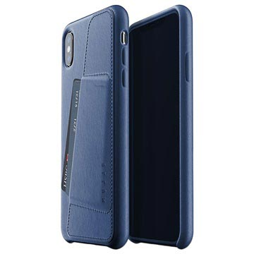 Mujjo Full Leder iPhone XS Plus Wallet Cover Donkerblauw