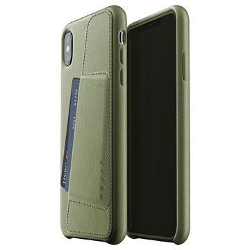 Mujjo Full Leder iPhone XS Plus Wallet Cover Olijfgroen