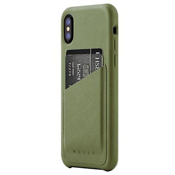 Mujjo-Smartphone covers-Leather Wallet Case iPhone X-Groen