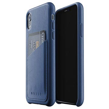 Mujjo Full Leder iPhone XI Wallet Cover Donkerblauw