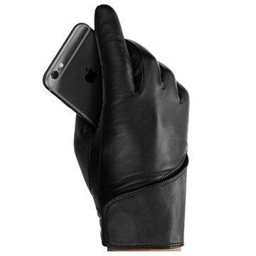 Mujjo Leder Touchscreen Handschoenen M Zwart