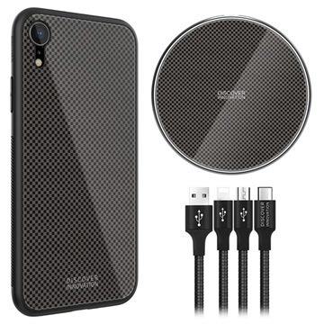 Nillkin Fancy iPhone XR Cover-Draadloze Oplader-3-in-1 Kabel Zwart