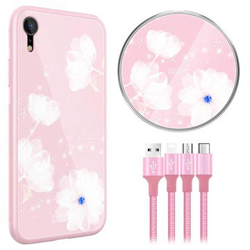 Nillkin Fancy iPhone XR Cover-Draadloze Oplader-3-in-1 Kabel Roze