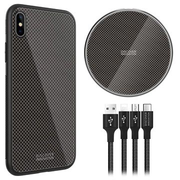 Nillkin Fancy iPhone XS Max Cover-Draadloze Oplader-3-in-1 Kabel Zwart
